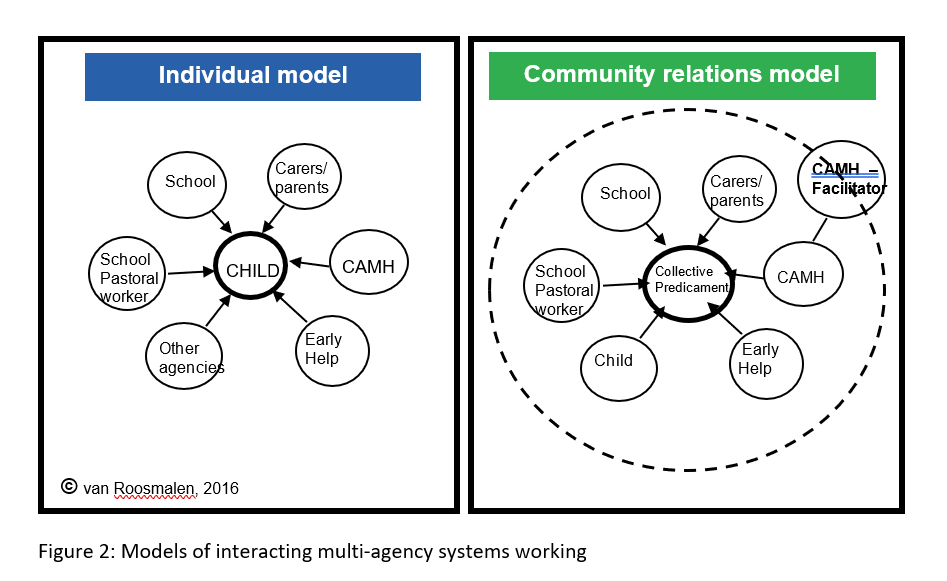 A diagram showing the two models of interacting multi-agency systems working