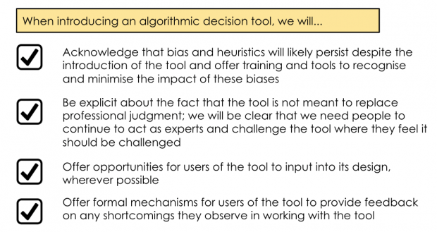 Check list for introducing an algorithmic decision tool